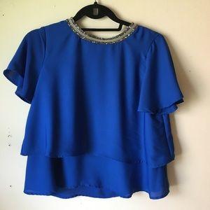 Zara blue blouse with brillant collar